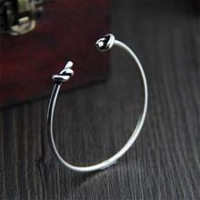 Wholesale Double Knot Cuff Bracelet Manchette 925 Sterling Silver Bangle Bracelet For Women Bracelets Bangles Pulseiras infinite knot cuff bracelet