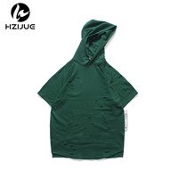 HZIJUE Men's T shirt Short Sleeve Hoodies ripped Holes Loose Hip Hop Style Solid color men Cotton Streetwear Hooded Tee Shirts