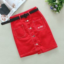купить 2019 Red Jeans Skirts Womens Summer Big Pockets Single Breasted Irregular length Skirts Letter Straight Short Denim Skirts 26009 дешево