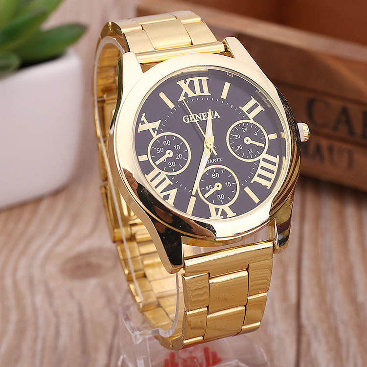 Buy luxury 3 eyes analog stainless steel geneva watch men casual quartz gold for Watches geneva