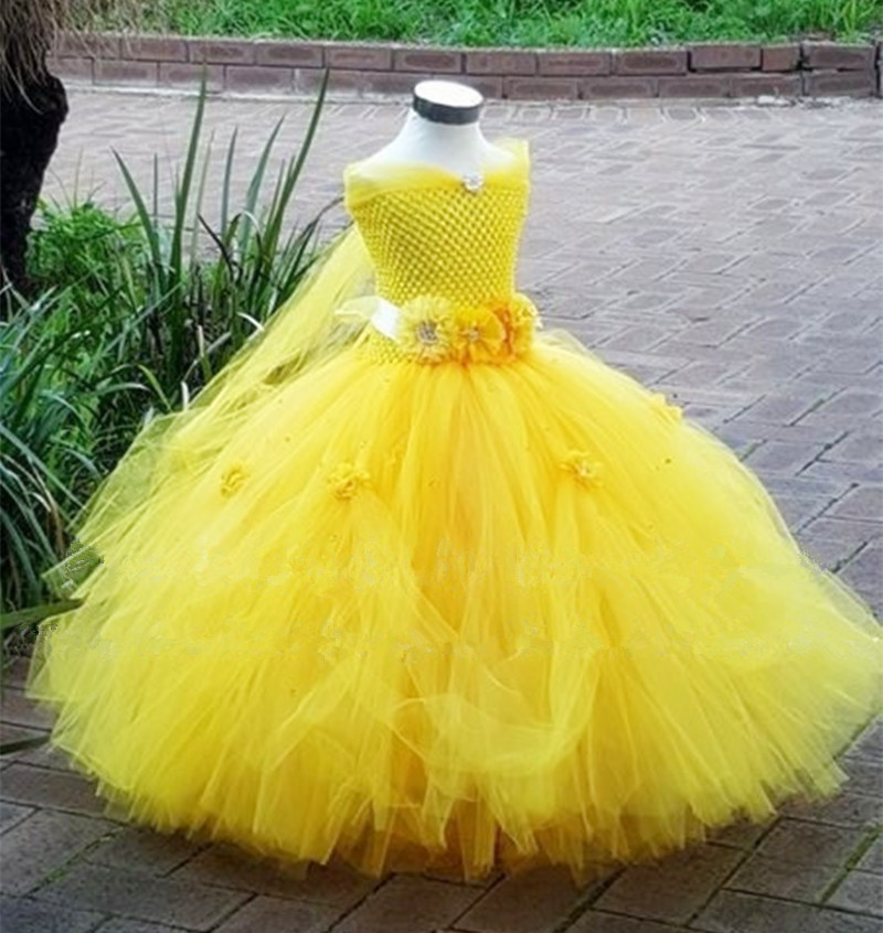 1 8y Princess Tutu Tulle Flower Girl Yellow Dress Kids