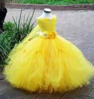 1 8Y Princess Tutu Tulle Flower Girl Yellow Dress Kids Party Pageant Bridesmaid Wedding Tutu Dress Cute Gown Dress Robe Enfant