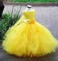1-8a princess tutu de tule vestido da menina flor pageant casamento da dama de honra do partido dos miúdos vestido tutu vestido amarelo vestido robe enfant