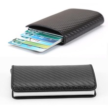 2019 New men Antitheft metal card holder fashion RFID aluminium credit card holder crazy horse PU leather travel card wallet
