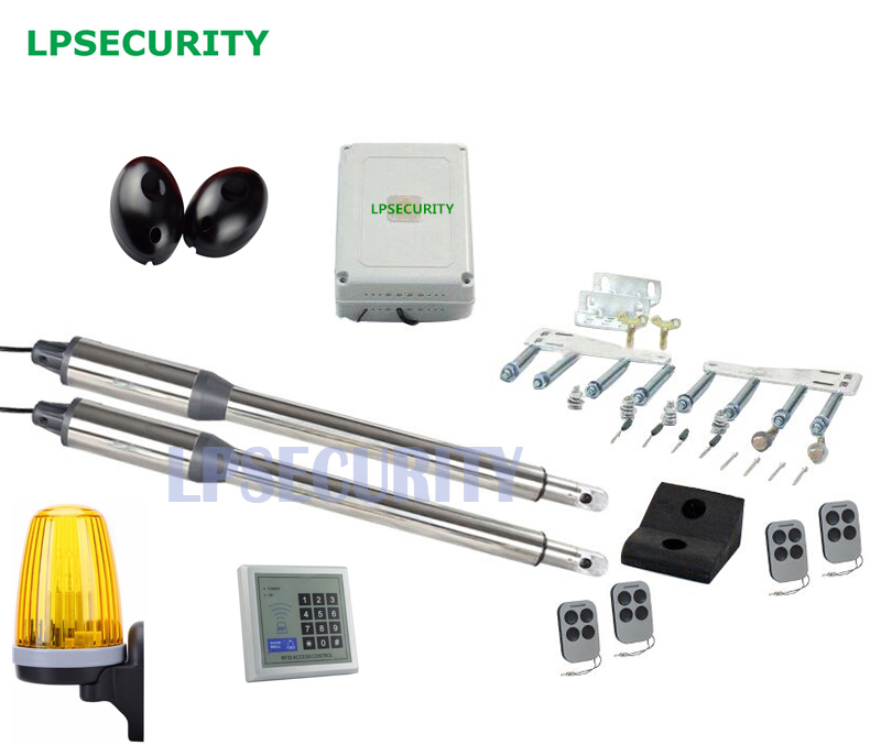 LPSECURITY automatic swing gate opener motor linear actuator 1 photocells 1 lamp(button, lock, gsm module,keypad optional) lpsecurity reserved automatic parking lock
