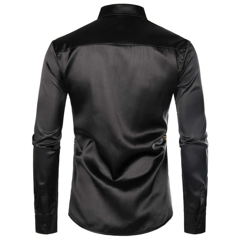 Błyszczące złoto cekinowe czarne jedwabne ubranie koszule męskie długi guzik na rękawie w dół błyszczące dyskotekowe koszule imprezowe męskie impreza w klubie nocnym Prom koszulka