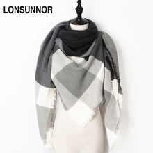 2017 New Fashion Winter Scarf For Women Scarf Luxury Brand Triangle Plaid Warm Cashmere Scarves Blanket Shawls 140*140*210CM
