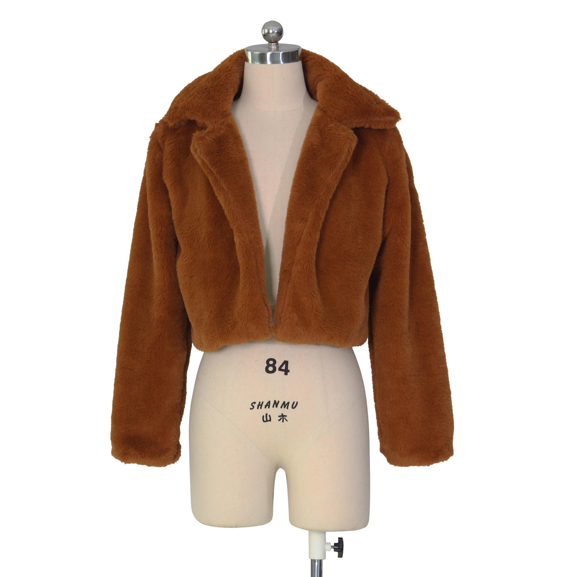 Femme Fermeture Éclair Crop Top Borg à capuche Femmes à manches longues fausse fourrure veste manteau