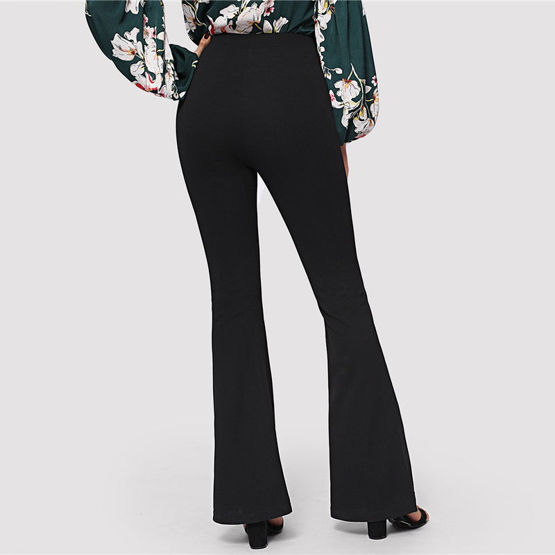 SHEIN Black Elegant Office Lady Elastic Waist Flare Hem Pants Casual Solid Minimalist Pants 19 Spring Women Pants Trousers 11
