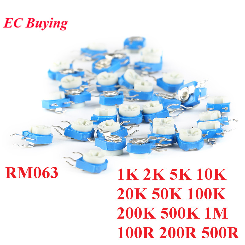 10pcs RM063 RM-063 1K 2K 5K 10K 20K 50K 100K 200K 500K 1M 100 200 500 Ohm Trimpot Trimmer Potentiometer Variable Resistor WH06 image