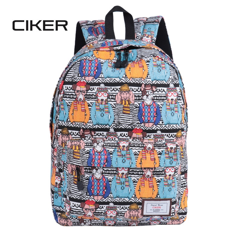 CIKER Fashion dog printing backpack women school bags canvas backpacks for teenage girls rucksack mochila Sac a dos high quality 18l fashion backpack hydration pack rucksack waterproof bicycle road bag knapsack daypack school bags mochila sac a dos