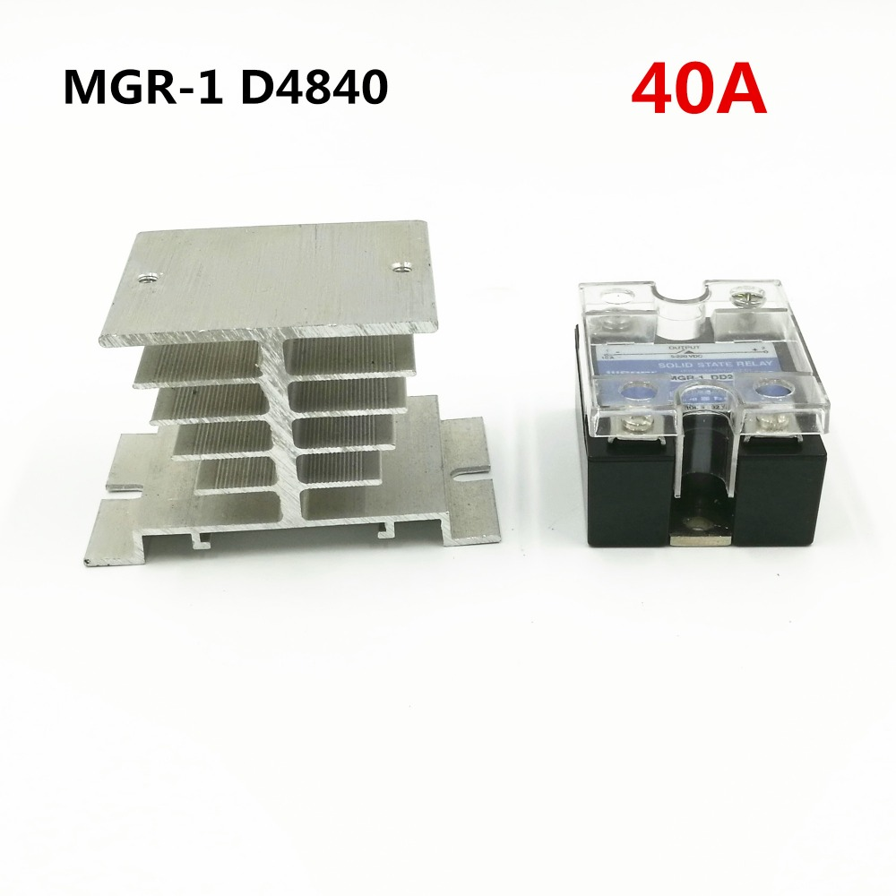 40A SSR,input 3-32VDC output 24-480VAC single phase solid state relay MGR-1 D4840 With Radiator base normally open single phase solid state relay ssr mgr 1 d48100 100a dc ac