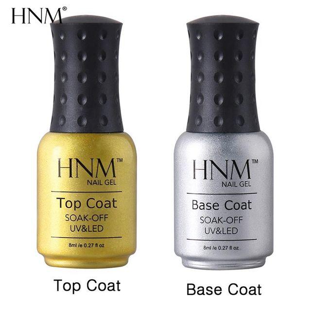 HNM 8ML UV Gel Top Coat Base Coat Gel For Nail Gel Polish Stable Bling Base Transparent Clear Manicure Primer Nail Varnish Set