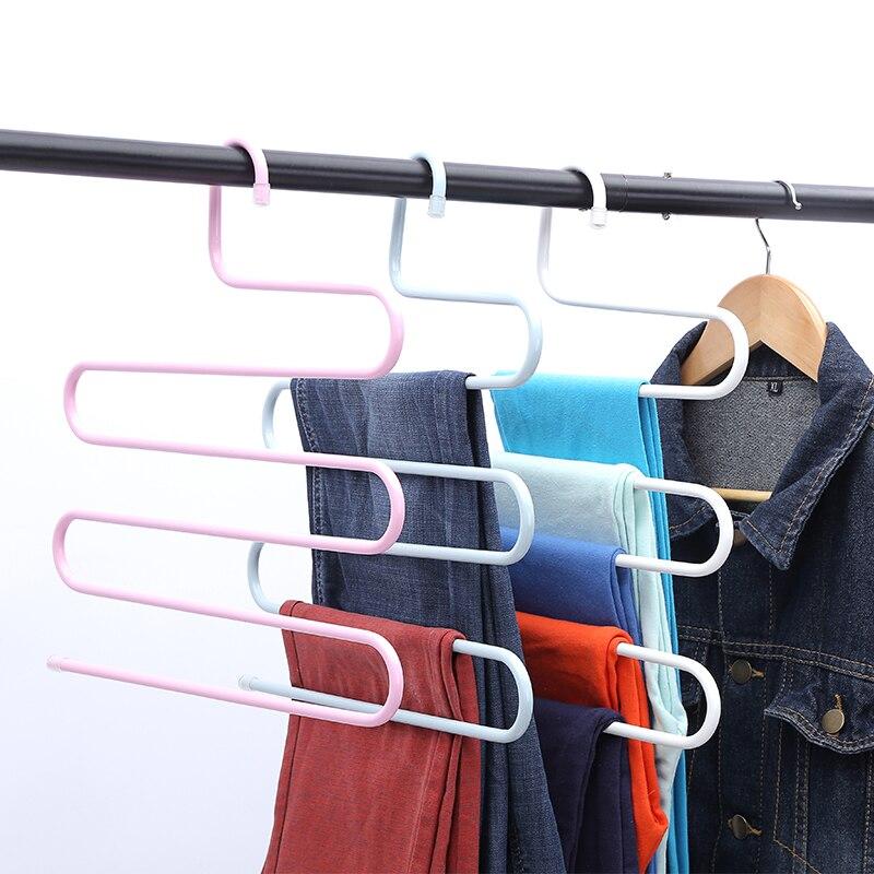 5x Clothes Pants Trouser S Hanger Multi Layer Storage Rack Closet Space Saver UK