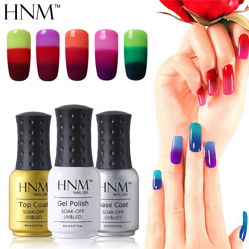 Hnm Temperature 3 Colors Changing Gel Nail Polish Mood Nail Gel Polish Uv Nail Glue Gel Lak Gel