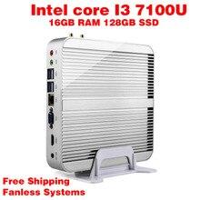 Мини-ПК Intel 7e Gen Кабы Lac Windows 10 i3 7100U 16 ГБ RAM 128 ГБ SSD 300 М Wi-Fi TV Box Бесплатная Доставка usb 3.0 компьютер