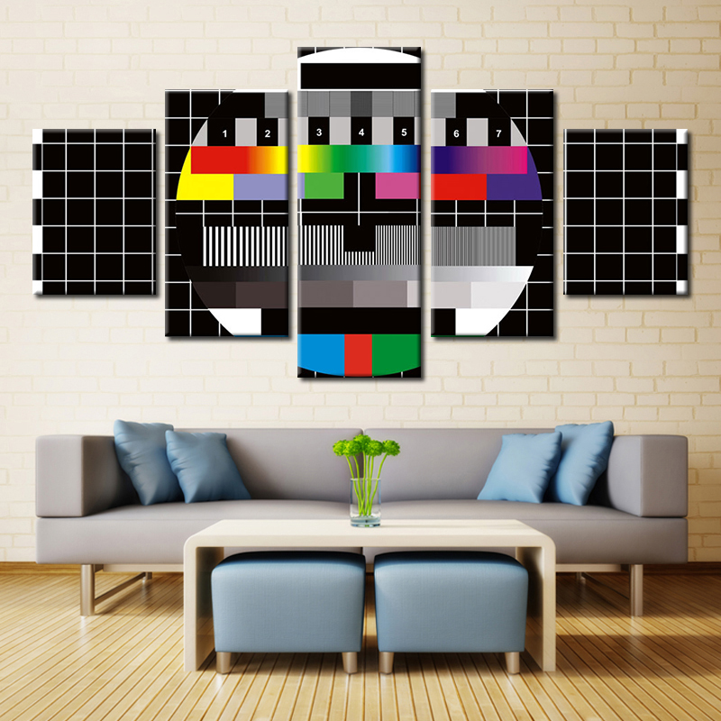 5 Panels Test Pattern Modern Home Wall Decoration Canvas Pictures Art HD Printed Painting