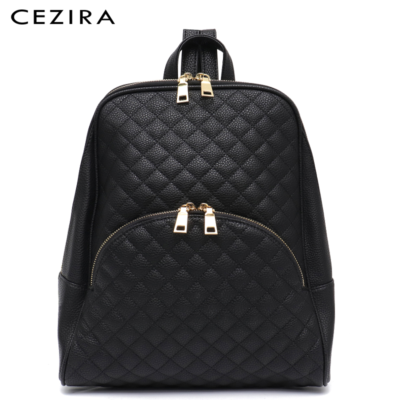 Womens Wide-Compartment Tassel Zip Faux Leather Backpack Rucksack School Bag