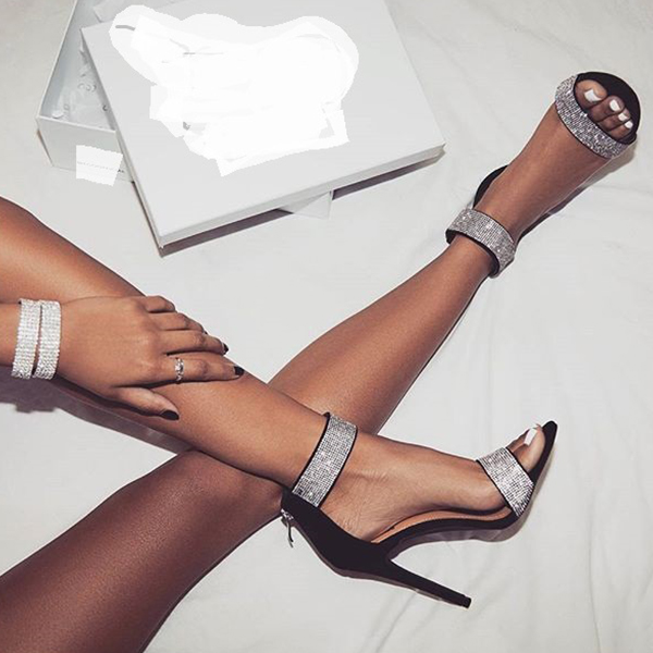 f626ca89e Boussac Luxury Crystal Heel Sandals Design Sexy Bling Rhinestone ...