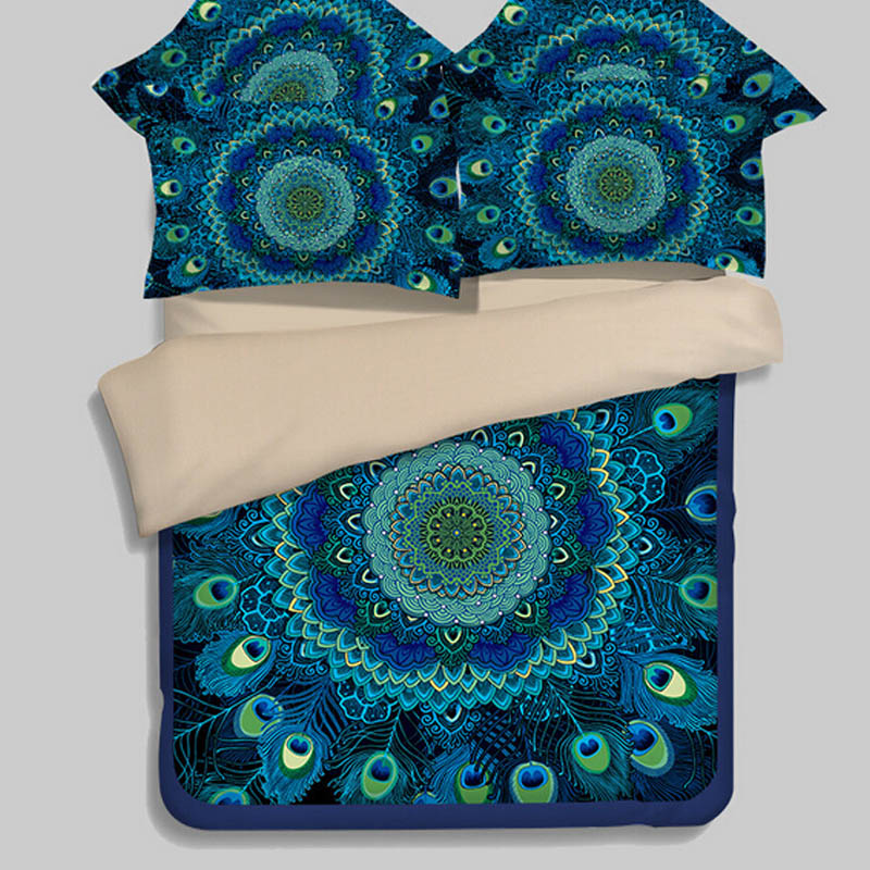 Bohemian Style Turquoise Blue Peacock Feathers Bedding Set Twin Queen King Size Quilt Cover Bed Sheets Soft Polyester Fabric