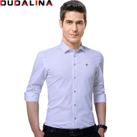 Dudalina 2017 New Male Shirts Male Long Sleeved Solid Embroidery Slim Fit Men S Social Business