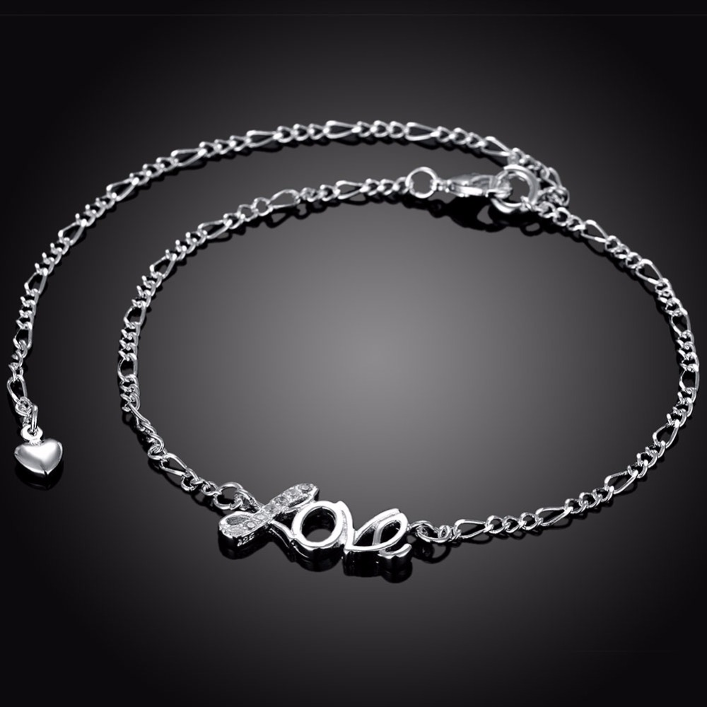 2018 New 925 sterling sliver Love ankle bracelets for women Foot Jewelry Inlaid Zircon Anklets Bracelet on a Leg Christmas Gifts