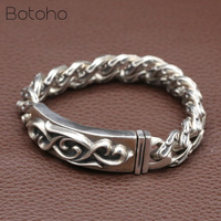 S925 Sterling Silver Bracelets for Women Men Vintage Width 15mm Thai Silver Rattan pattern Chain Charms Bangles Fashion Jewelry