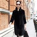 2016 ladies' fashion mink fur collar sheared sheep fur shearling coats,black sheepskin fur coat whole peel High Quality