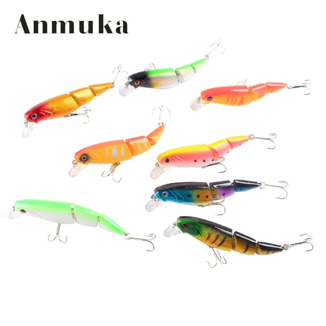Anmuka Swimbait Jointed Top Water Minnow Fishing Lures Hook Crankbait Bait Bass 3 Sections 10cm Fishing Accessories