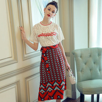 Women Two Piece Set Dress Embroidery Lace Short Sleeve White T Shirt And Print Red Dresses