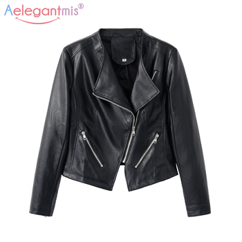 Aelegantmis 2018 New Soft PU Faux Leather Jackets Women Casual Slim Short Outerwear Lady Motorcyle Zippers Bike Jacket Autumn Косуха