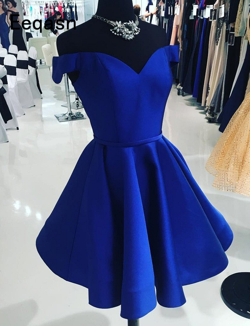 Short Royal Blue   Cocktail     Dresses   Off the Shoulder A-Line Satin Women Formal Prom Party Gown Homecoming   Dress   2020
