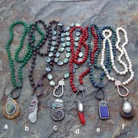 24 Mala Necklace Natural Stone Pendant