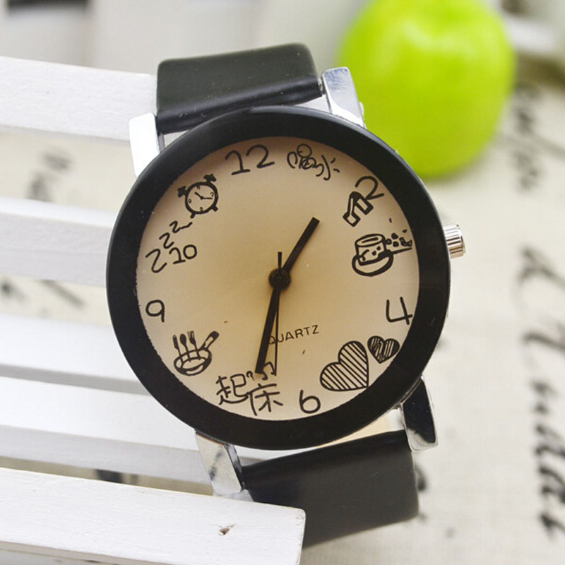 Fashion Women Watch Chinese Graffiti Dial Unique Quartz Wristwatch Fuax Leather Strap Round Dial Montre Femme Relojes Para Mujer