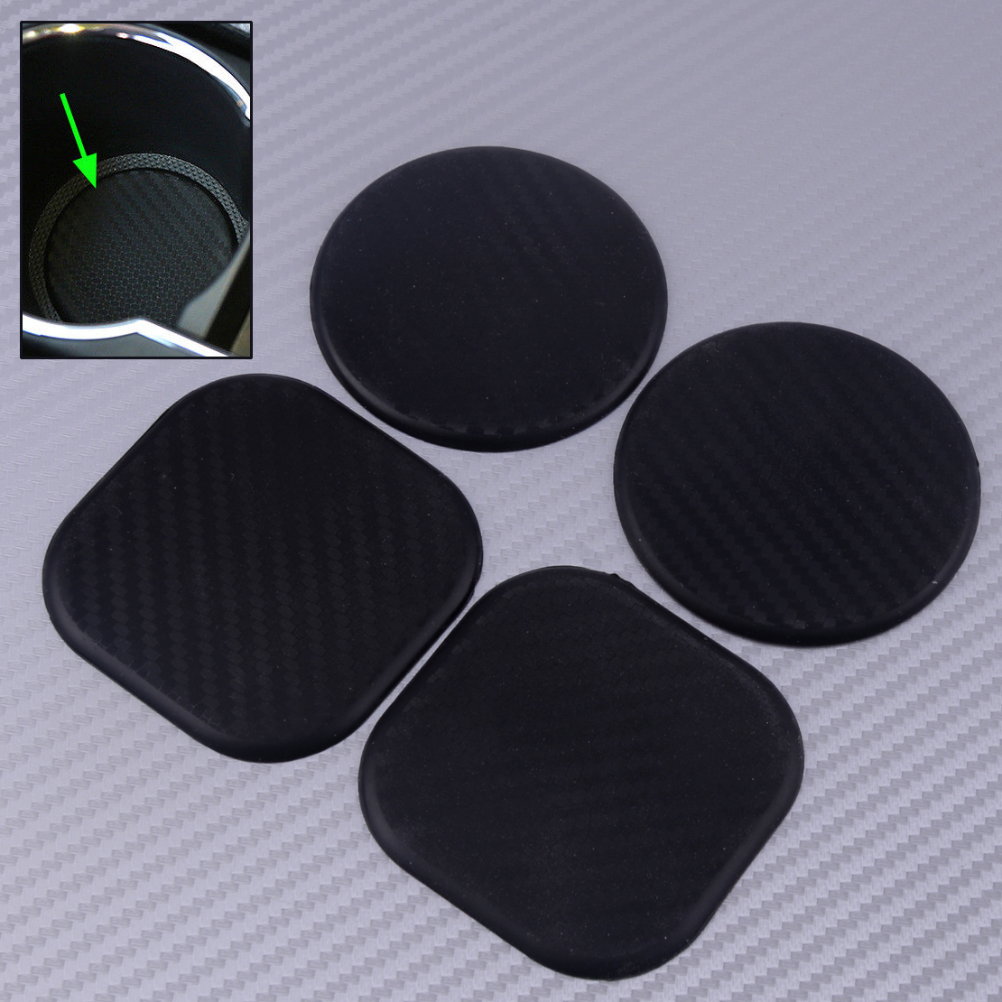 DWCX 2Pcs Black Non-Slip Water Cup Slot Mat Carbon Fiber Texture Car Vehicle Silicone Accrssories