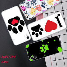 Silicone Phone Case Dog footprint Fashion Printing for iPhone XS XR Max X 8 7 6 6S Plus 5 5S SE Matte Cover