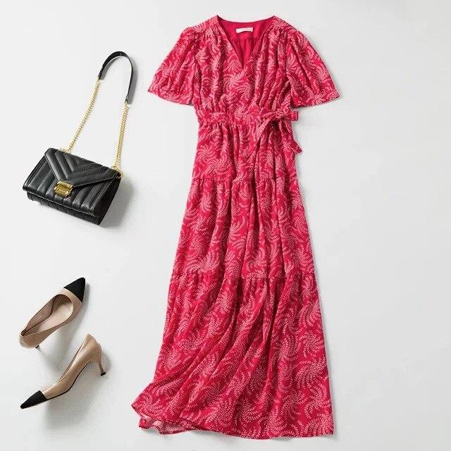 Kobiety sukienka 2019 lato nowy dekolt w serek z czerwona sukienka w Suknie od Odzież damska na  Grupa 1