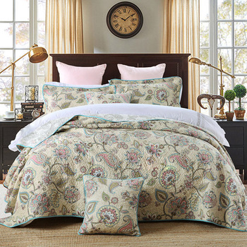 CHAUSUB Summer Bedspreads Cotton Quilt Set 3PCS Quilts Quilted Printing Bed Cover With 2 Pillowcase King Queen coverlet Blanket