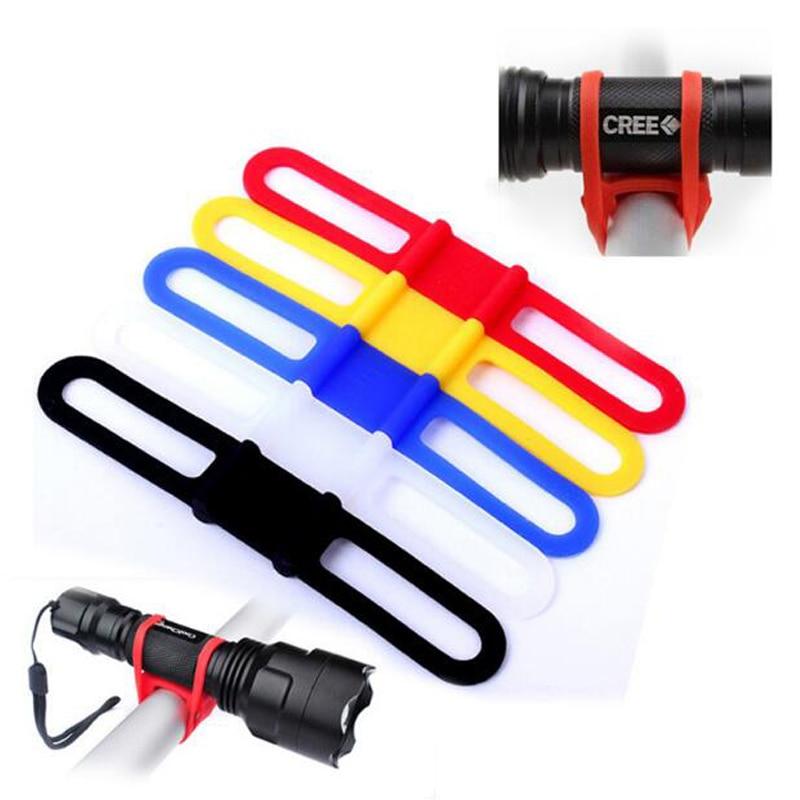 5pcs Bicycle Bike Elastic Silicone Strap Cycling Light Holder Flashlight Bandages Portable Fixing Goods Elastic Tie Rope