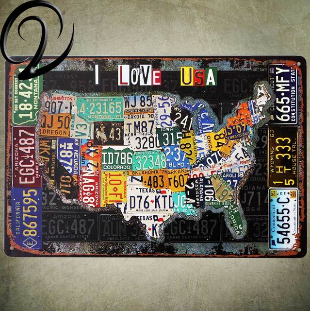 I Love USA US Map Vintage Home Decor Shabby Chic Metal Sign Wall Bar Pub Tin Signs Plaques Hangings