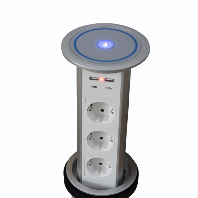 Hot Sales QI Wireless Quick Charger Electric Power Socket With 3 Plug Outlets And 2 USB Ports Intelligent Home Motorized Sockets