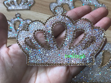 1 Piece Rhinestone Patches Hot Fix Motif iron on Crown Glass Patch Applique For Newborn Baby Clothing Set