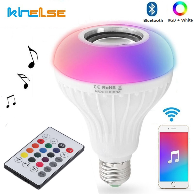 New LED RGB Wireless Bluetooth Speaker Bulb E27 12W LED Bulb 100-240V Music Player Audio Lamp Remote 110V 220V Smart Led Light smuxi e27 led rgb wireless bluetooth speaker music smart light bulb 15w playing lamp remote control decor for ios android