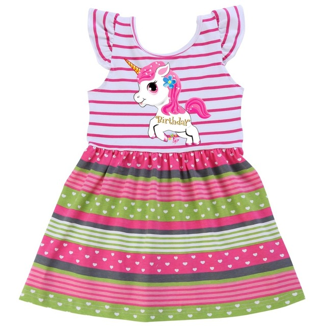 96f06dbd85576 US $1.89 |2019 Unicorn Cute Children Kids Summer Baby Girls Dresses Clothes  Cartoon Flying Sleeve Wedding Dress Infant Garments Clothing-in Dresses ...