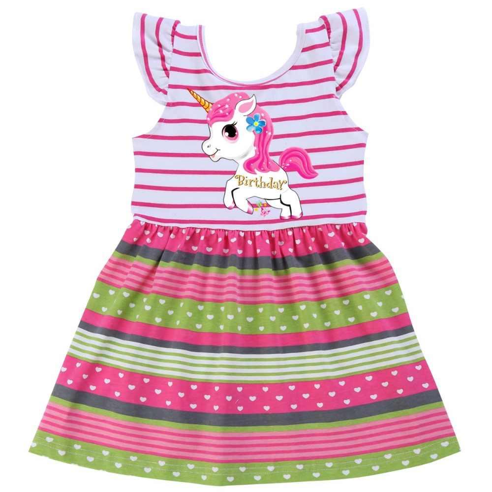 2019 Unicorn חמוד ילדי ילדי קיץ תינוק בנות שמלות בגדי קריקטורה עף שרוול חתונה שמלת תינוקות בגדים