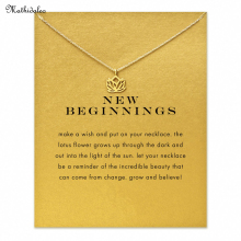 New Beginnings Lotus Pendant Necklace Clavicle Chains Statement Necklace Women Mathidaleo Jewelry T0195
