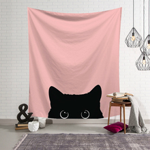 3D Cute Cat Tapestry Wall Hanging Bohemian Nordic Style Printed Macrame Girl Kids Room Decoration Polyester Blanket