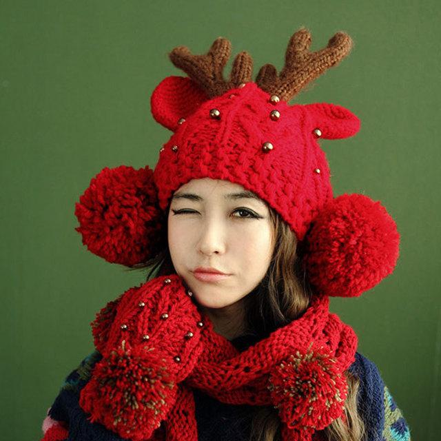 2015 nuevo otoño / invierno sombrero hecho punto sombrero exterior mujeres gorro de lana caliente las cornamentas de la navidad astas caps