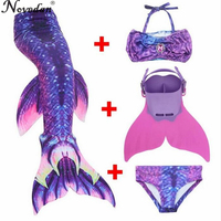 New 2018 Children Mermaid Tail With Monofin Kids Girls Costumes Swimming Little Mermaid Tail Mermaid Swimsuit Flipper For Girls