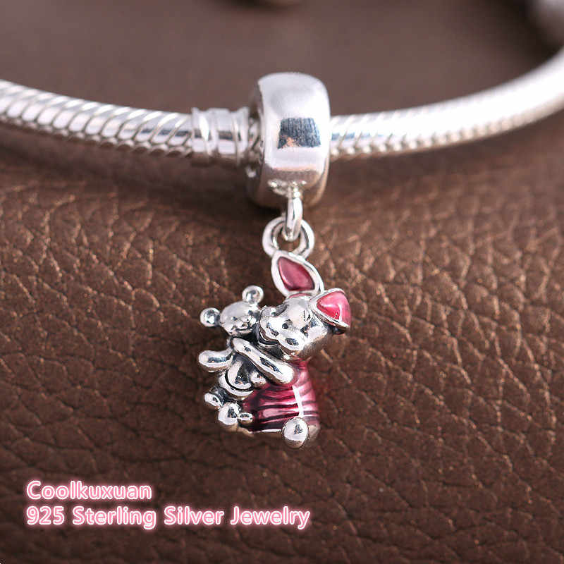 22eeb307b 2018 New Cerise Enamel Piglet Pendant Charms For DIY Jewelry Making 925  Sterling Silver Teddy Bear